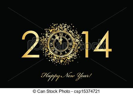 New Year's Eve Clip Art | Illustration of 2014 Happy New Year - Vector 2014 Happy New Year ...