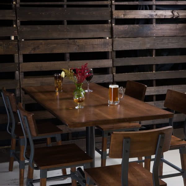 Lancaster Table Seating 30 X 60 Solid Wood Live Edge Table Top With Antique Walnut Finish Live Edge Table Tops Live Edge Table Restaurant Table Decor