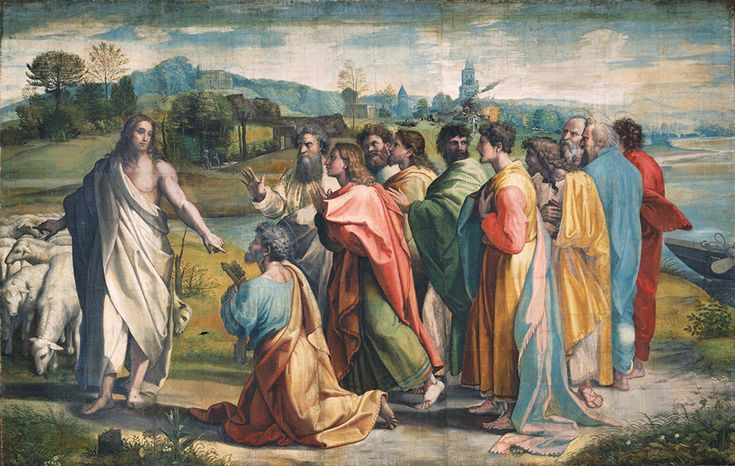 """Raphael """"Christ's Charge to Peter"""" 1515-16 (The Raphael Cartoons)  (Victoria and Albert Museum, London)"""