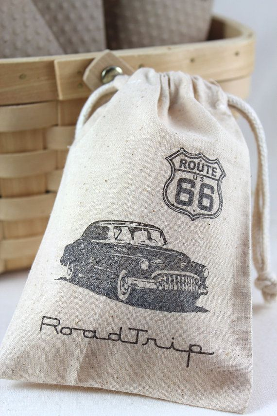 Route 66 retro car Party Favor bags set of 10 - 4x6 muslin bags - goodie bags, thank you, boys birthday