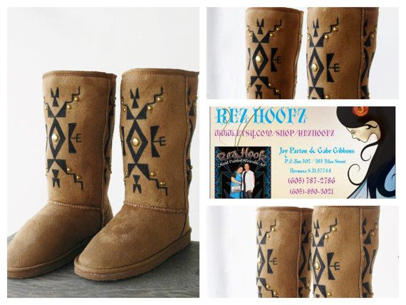 Native Boots by Rez Hoofz Size 7.5 by REZHOOFZ on Etsy, $89.95