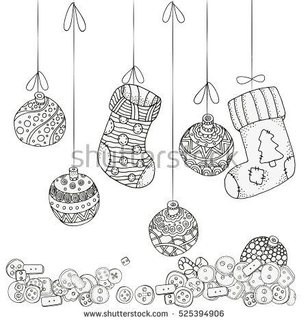 Pattern For Coloring Book Xmas Balls And Christmas Socks Zentangle Patterns Sketch By