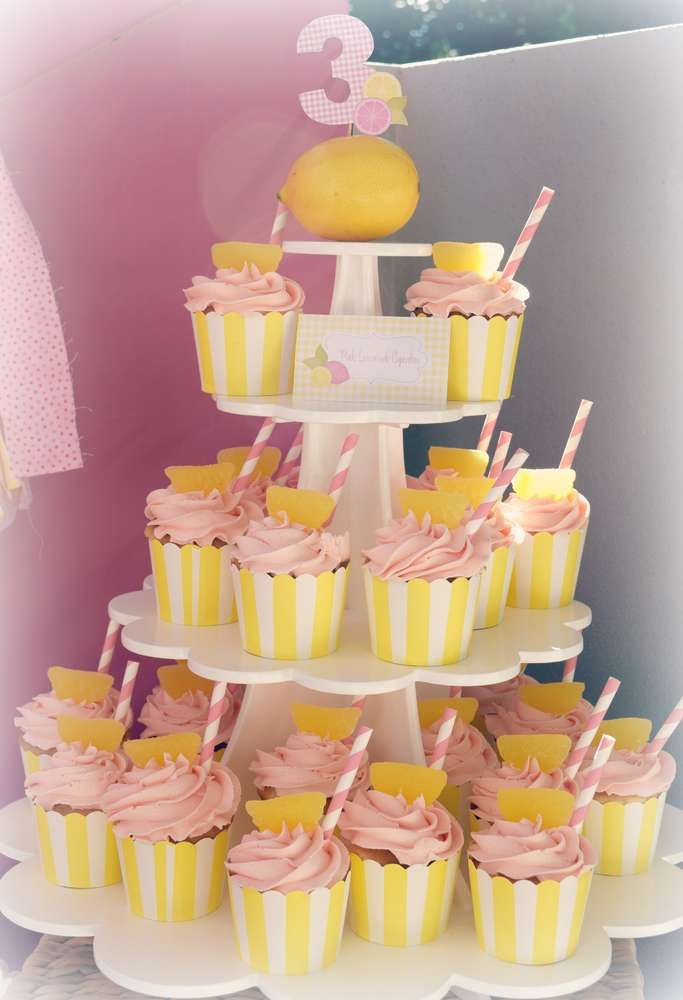 Cupcakes at a pink lemonade birthday party! See more party ideas at CatchMyParty.com!