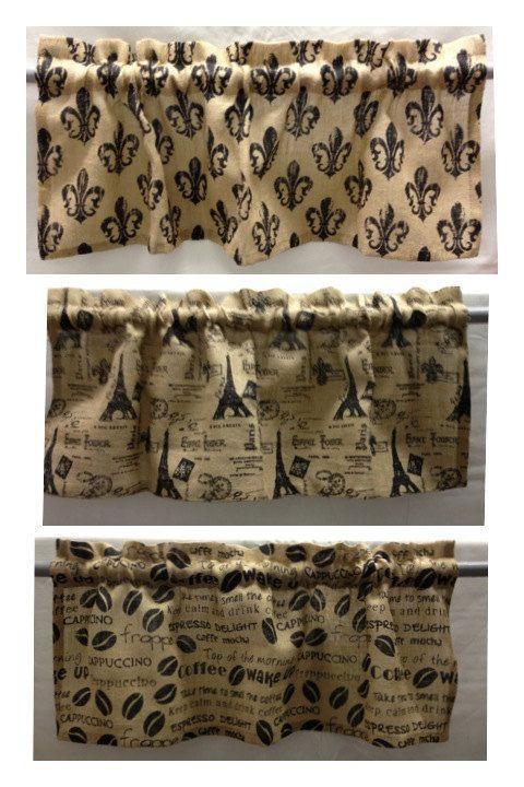 Perfect Burlap Valances Fleur De Lis Coffee Beans Eiffel By MyDEEsigns. , Via Etsy.