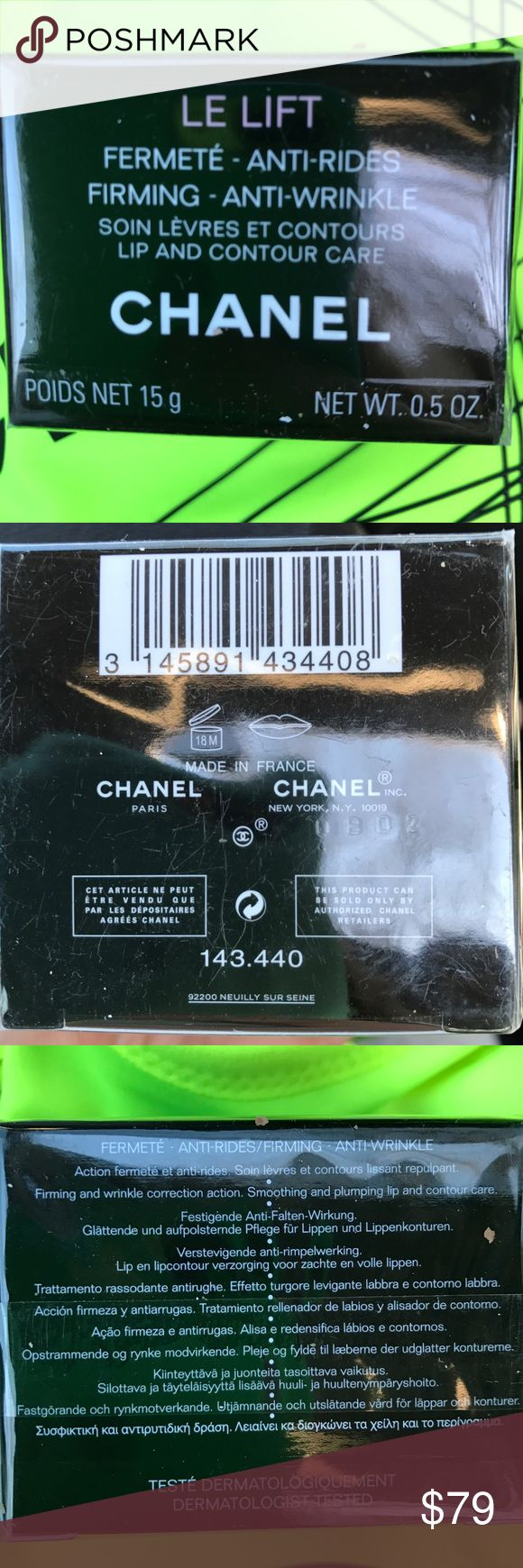 BNWT Le lift Chanel firming anti-wrinkle 15g New inbox and covered in it's plastic Chanel anti-wrinkle firming lotion lip and Contour care CHANEL Makeup