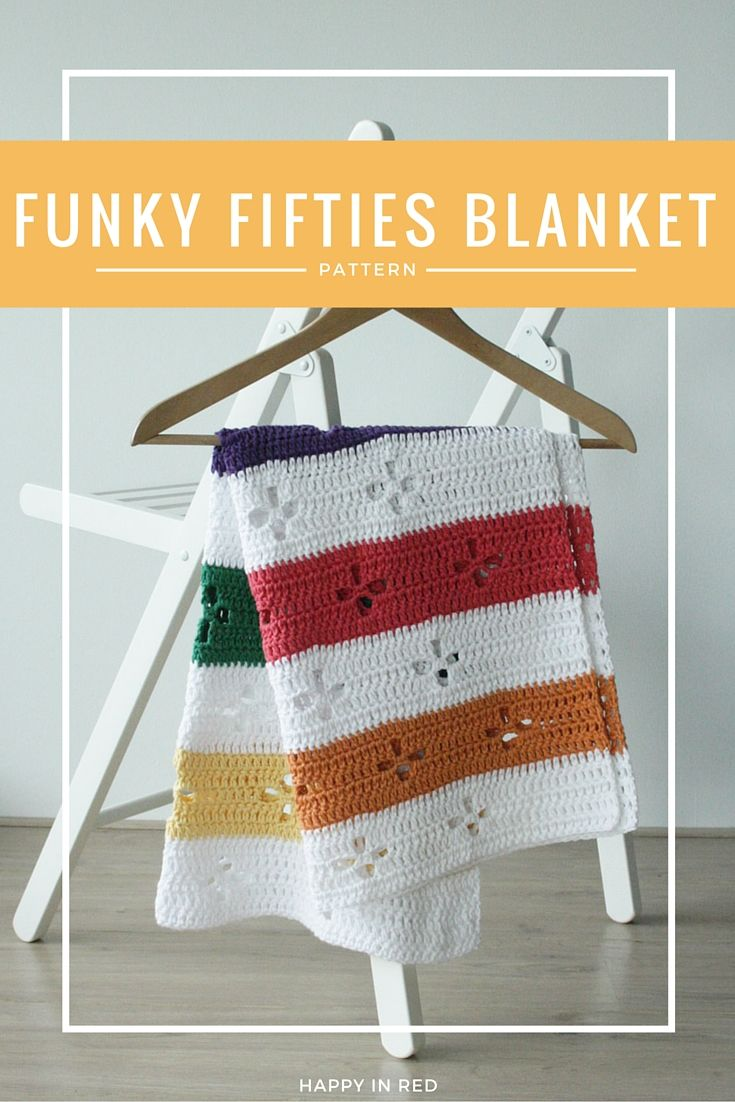 Crochet blanket, pattern. Would you like to crochet an awesome retro blanket? This Funky 50's blanket os just for you | Happy in Red