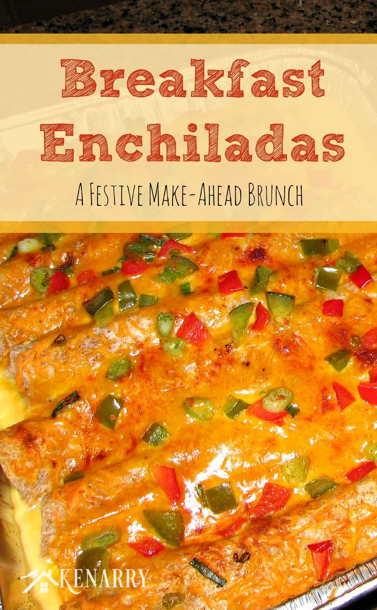 These festive Christmas breakfast enchiladas night can be made the night before your holiday brunch — or better yet prepare the breakfast enchiladas a few weeks ahead of time and store them in the freezer!
