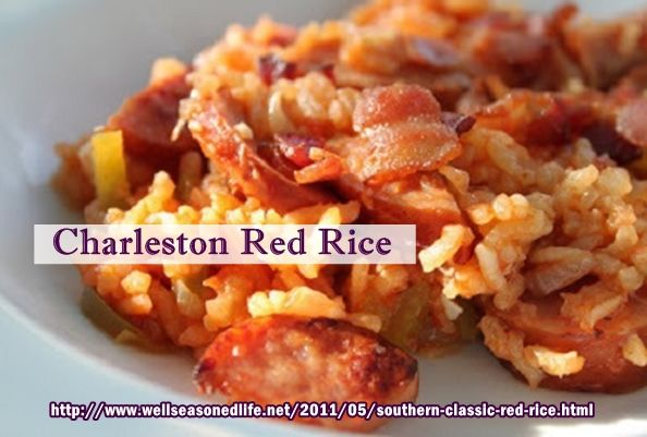 Charleston, South Carolina Red Rice (low country cuisine) Rice with tomatoes, smoked sausage, bacon, onions, peppers.