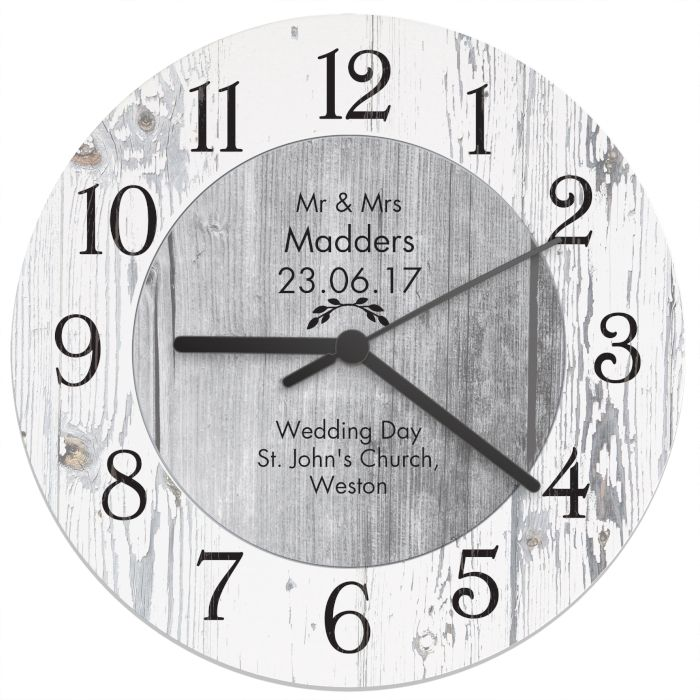 Personalised Any Message Shabby Chic Large Wooden Clock  This wooden clock is made from lightweight white wood board and can be personalised with 6 lines of text, with 20 characters per line. £24.99