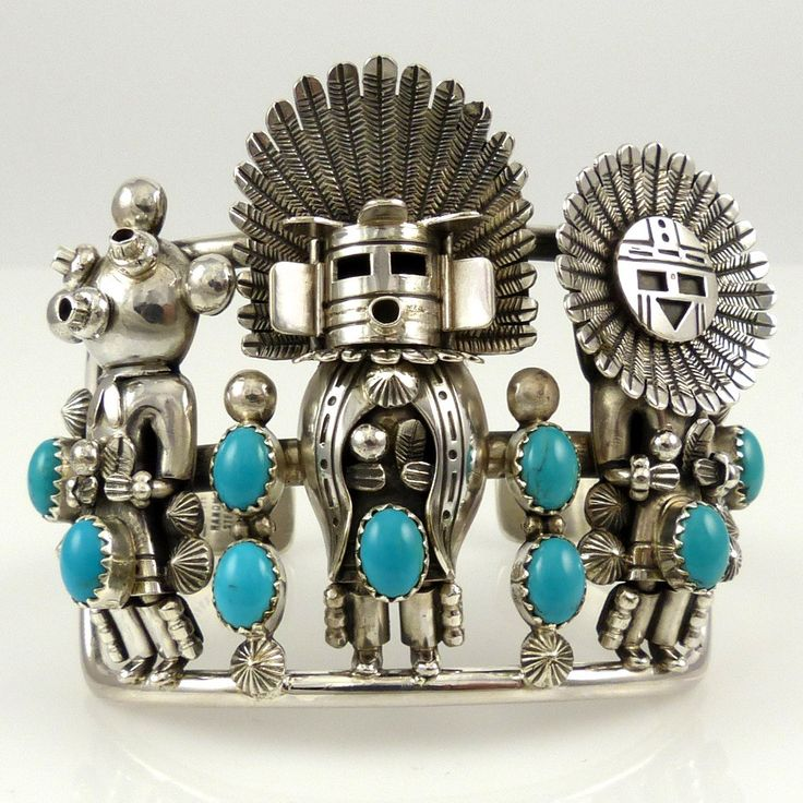 "Sterling Silver Split Band Cuff with Three Kachinas (Sunface, Morning, Mudhead), set with Sleeping Beauty Turquoise Cabochons. 2.125"" Cuff Width 5.375"" Inside M"
