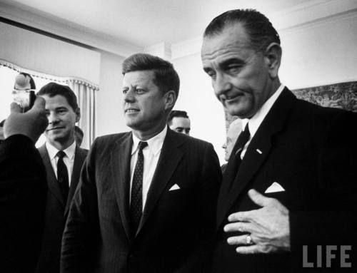 JFK & Lyndon B. Johnson in NYC before their inauguration.
