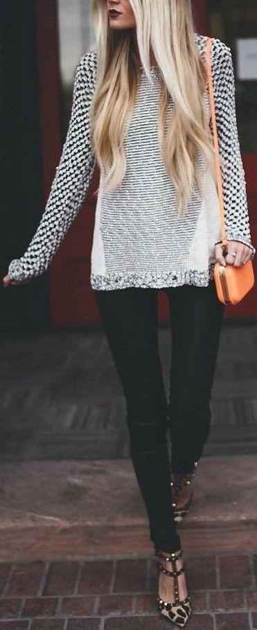 Grey Sweater + Black Denim Source