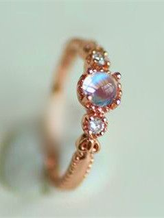 charming rose gold moonstone dainty promise ring for her http://www.jewelsin.com/p-affordable-fancy-rose-gold-moonstone-cocktail-ring-for-women-1249