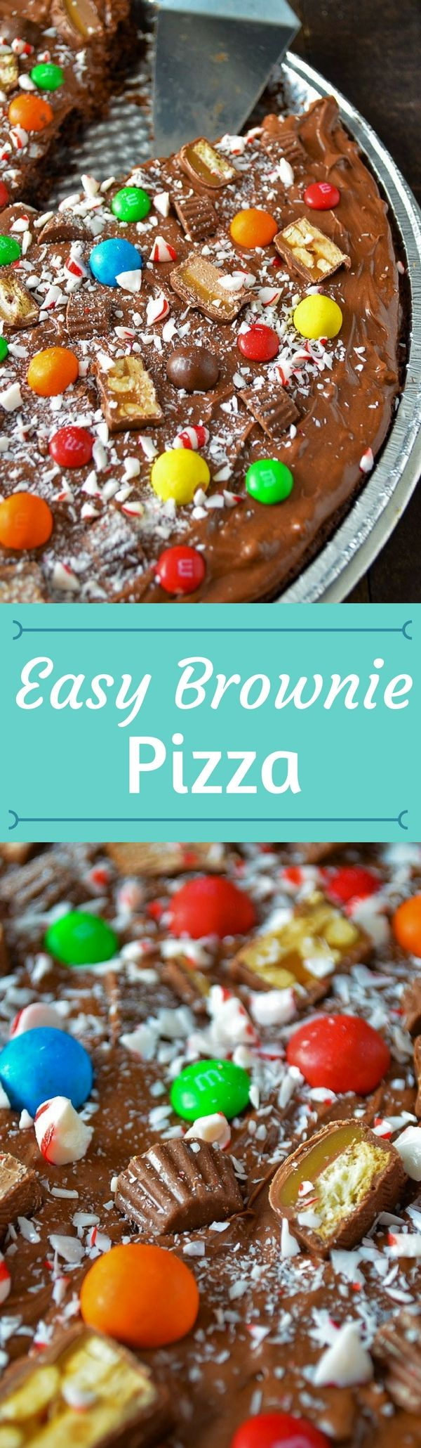 Put your leftover candy to good use and make this amazingly Easy Brownie Pizza! The family will eat it up! #chocolate #homemade #brownie #easy #recipe