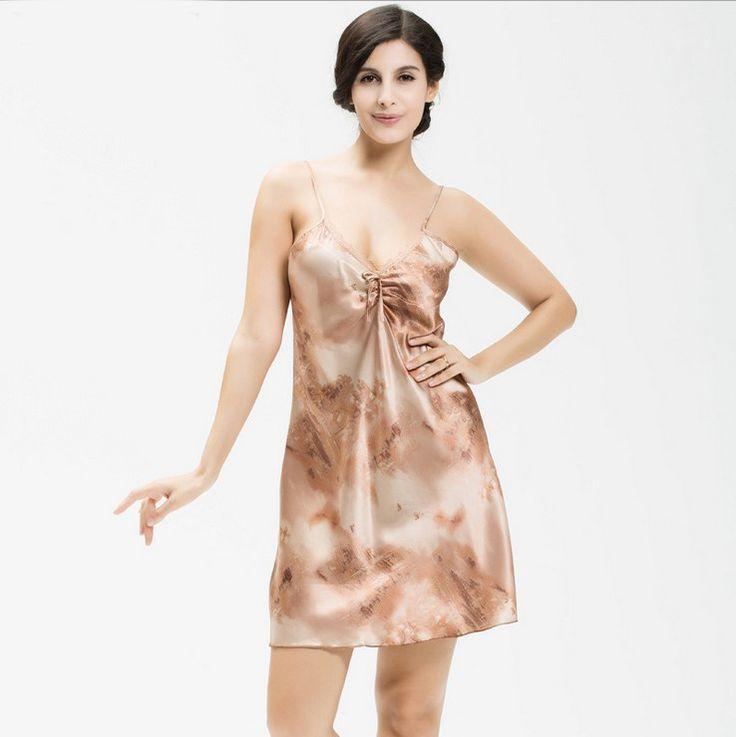 Ladies Sexy Silk Satin Night Dress Sleeveless Nighties V-neck Nightgown Summer Nightdress bow Sleepwear Nightwear For Women #Affiliate