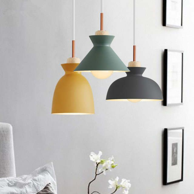 Modern Nordic Pendant Lights Scandinavian Loft Pendant Lamp Wood Metal Lampsh Scandinavian Pendant Lighting Pendant Light Fixtures Pendant Lighting Dining Room