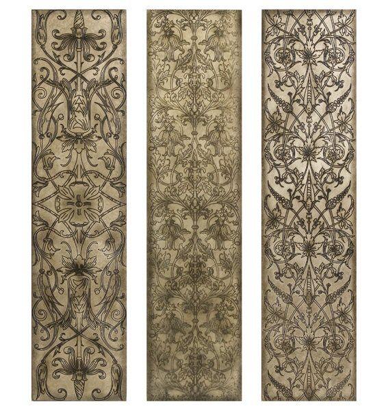 Filigree Pattern Black And White Wood Wall Art Panels, Set Of 3   Wall Decor