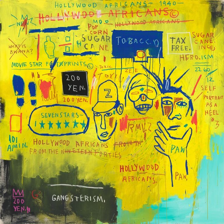 Whitney Museum of American Art: Jean-Michel Basquiat: Hollywood Africans, 1983, acrylic and oil stick on canvas. 84 1/16 x 84 in.