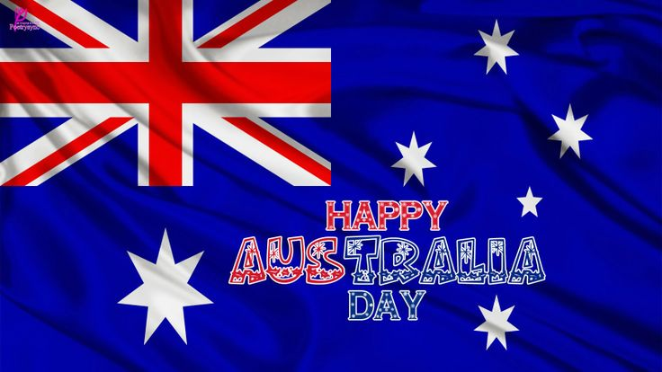 Australia Day 26 January Wishes on Australia Flag Wallpaper