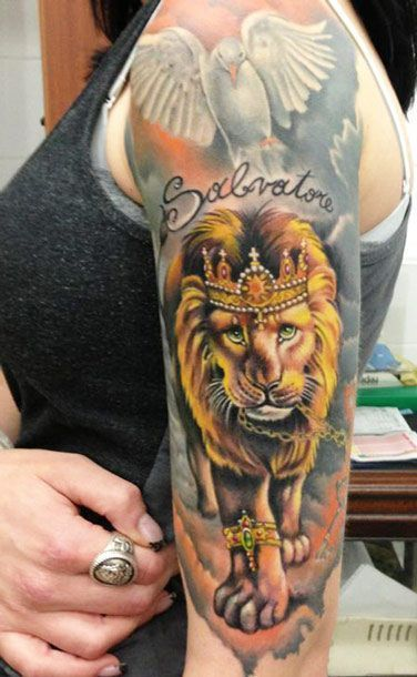 Lion King Tattoo Sleeve Animals king lion tattoo