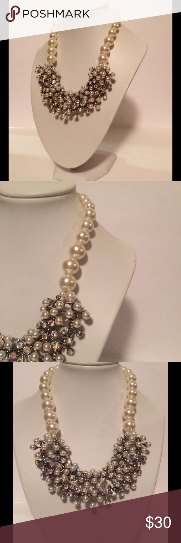 Traci Lynn Pearl Gemstone Statement Necklace Beautiful statement necklace by Traci Lynn.  Simulated pearls and stones.  Silver tone.  A stunning accessory! Traci Lynn Jewelry Necklaces