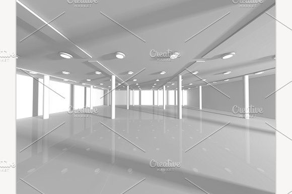 Empty White Open Space 3d Rendering Architecture Background