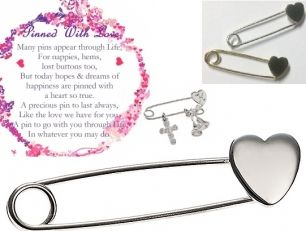 Pin - Brooch or Pendant - PINNED WITH LOVE - Sterling Silver or 9ct Gold  Pin hopes and dreams on someone you love with a little sterling silver or solid gold Heart Keepsake Pin.  Oh My Giddy Aunt! This original design is lovely just as it is, or personalise it with engraving or by adding charms for a Christening, Wedding, First Birthday, 80th Birthday or any special occasion you would like to create a keepsake for.
