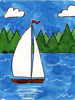 Art Projects for Kids: Sailboat on a Lake  This sailboat painting gives students a chance to make a reflection and try layering of color too regarding the background trees. 1. Draw the boat and sails. Add a horizon line. Make some zig-zag lines for two layers of trees. 2. Trace all the lines with a black permanent marker.  3. Use a white crayon to draw waves and a reflection of the boat. 4. Paint the picture with watercolors.