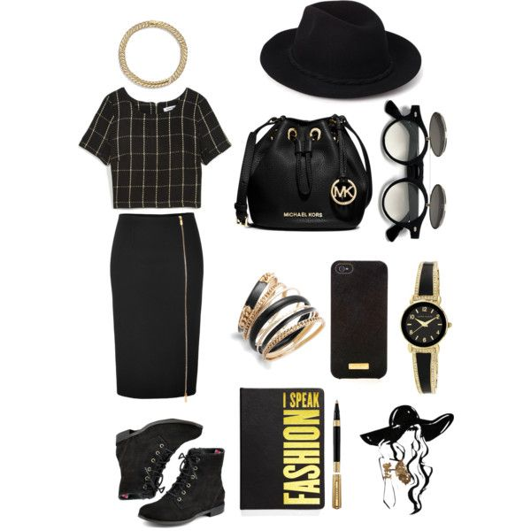 street style: let's go bold, with black and gold. by srsstreetcouture on Polyvore featuring polyvore, fashion, style, Azalea, Michael Kors, Sperry Top-Sider, MICHAEL Michael Kors, Anne Klein, Bar III, David Yurman, Forever 21, Henri Bendel and Dinks