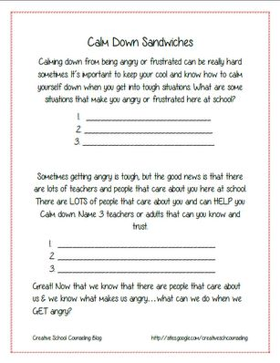 Worksheets Counseling Worksheets 779 best images about counseling worksheets printables on free and activity for anger sandwiches creative school blog