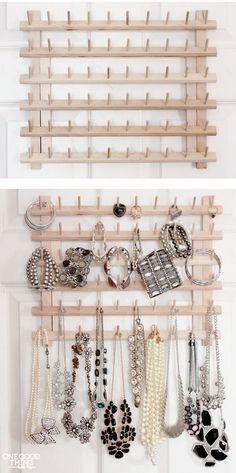 From Thread Rack To Jewelry Organizer. A super simple idea to repurpose the wooden thread rack into this stylish jewelry organizer for less than $10.