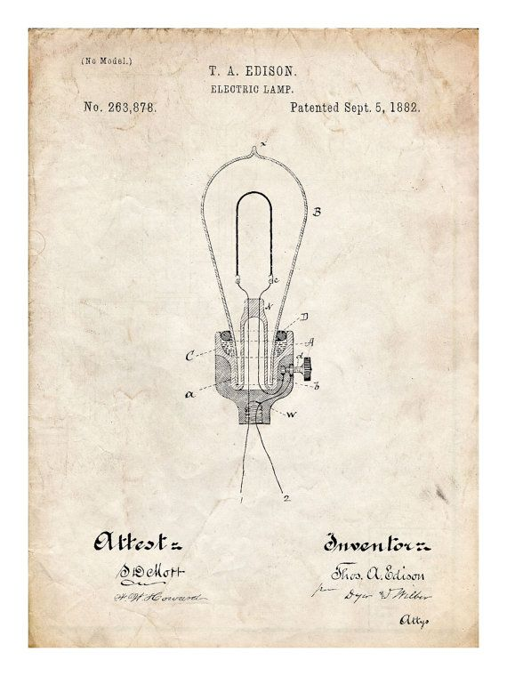 THOMAS EDISON Light Bulb Electric Lamp 1882 by StevesPosterStore, $14.95