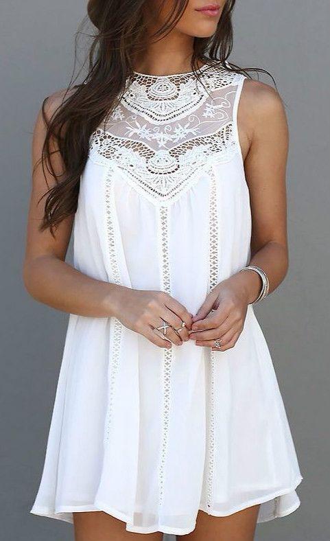 Sweet A-Line White Tank Dress