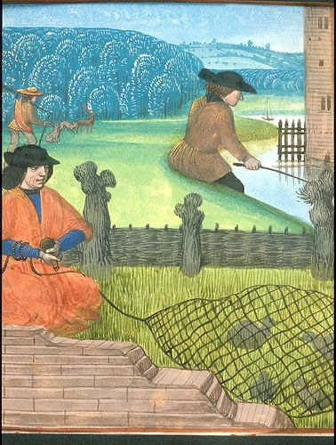 Fishing and Fowling. Petrus de Crescentiis, translation attributed to Jean Corbechon, Ruralia commoda in French translation (Rustican des ruraulx prouffiz du labour des champs) Netherlands, S. (Bruges); Last quarter of the 15th century c. 1478-c. 1480. Royal 14 E VI, f. 270v. British Library.