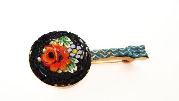 #Vintage Micro #Mosaic Italian Mandolin #Brooch by Treasures On Broadway, $27.00