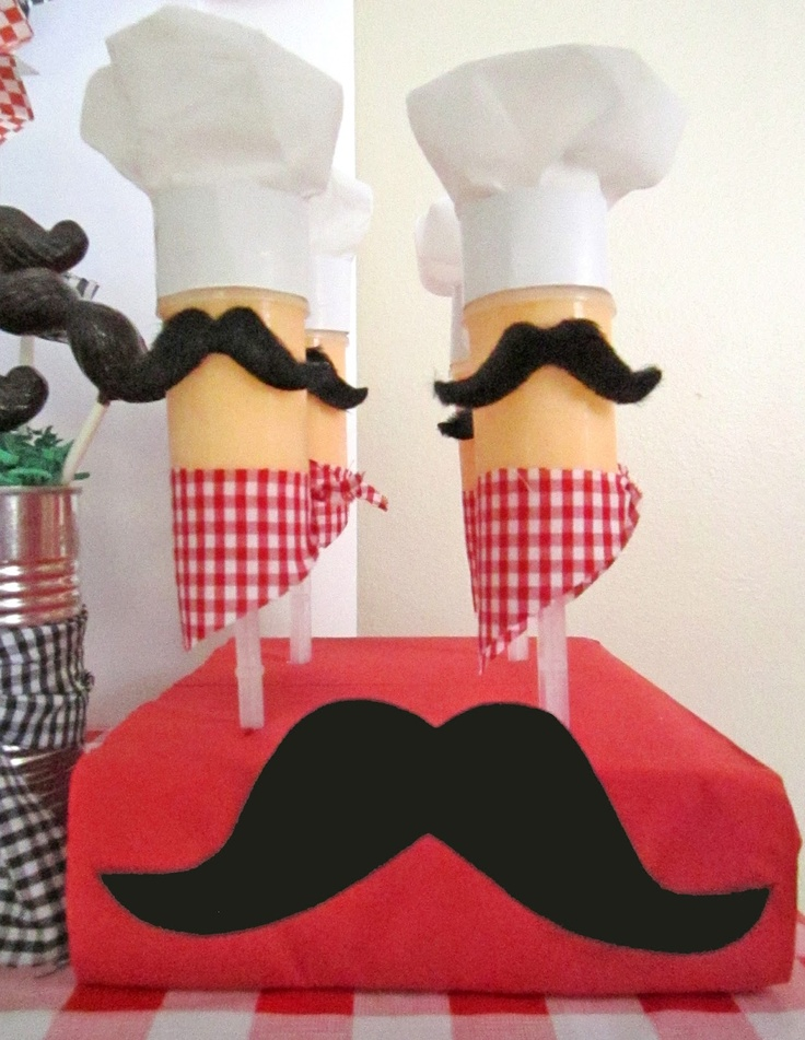 decorated push-up pops with mini chef hats, a sticky moustaches, and a little gingham kerchief.