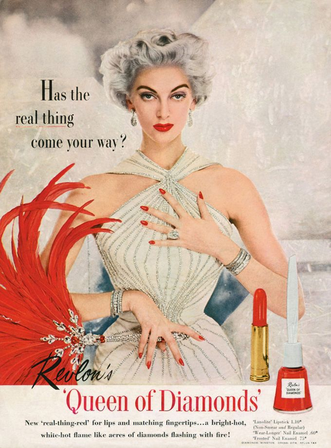 """1954 Revlon """"Queen of Diamonds"""" red lipstick/nail ad featuring Carmen Dell'Orefice, photographed by Richard Avedon"""