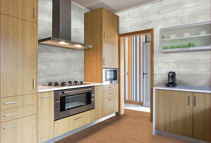 Revestimiento vinílico de pared imitación madera de roble con acabado en color gris. Especialmente indicado para zonas interiores  de viviendas o locales, soportando...