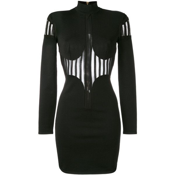 Balmain sheer panel turtleneck dress ($2,985) ❤ liked on Polyvore featuring dresses, black, turtle neck dress, striped turtleneck top, stripe dresses, long-sleeve turtleneck dresses and long sleeve turtleneck