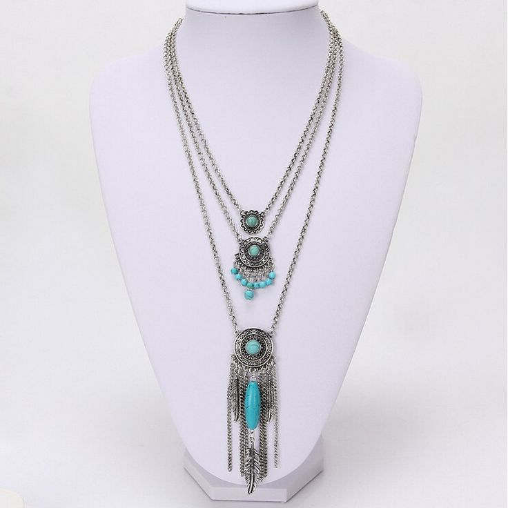 $12 Turquoise Multi-layer Feather Tassel Necklace