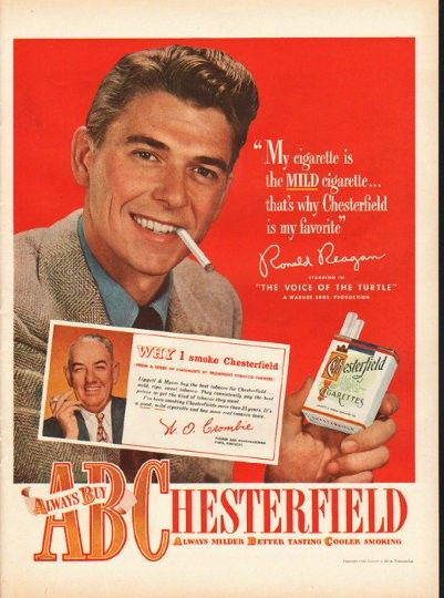 "1948 CHESTERFIELD CIGARETTES vintage magazine advertisement ~ Ronald Reagan ~ ""My cigarette is the Mild cigarette ... that's why Chesterfield is my favorite"" - Ronald Reagan - starring in ""The Voice Of The Turtle"" ~"