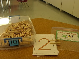 math station match clothespins to numbers; great for early in the year