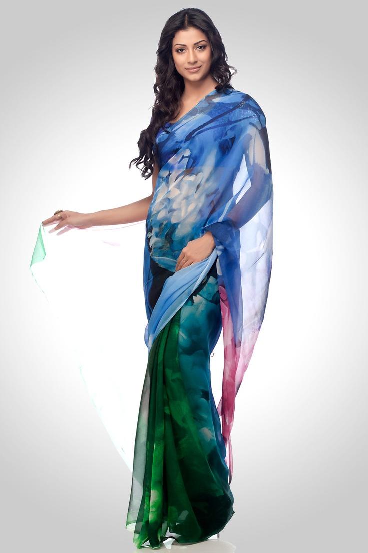 Satya Paul Blue & Green printed saree
