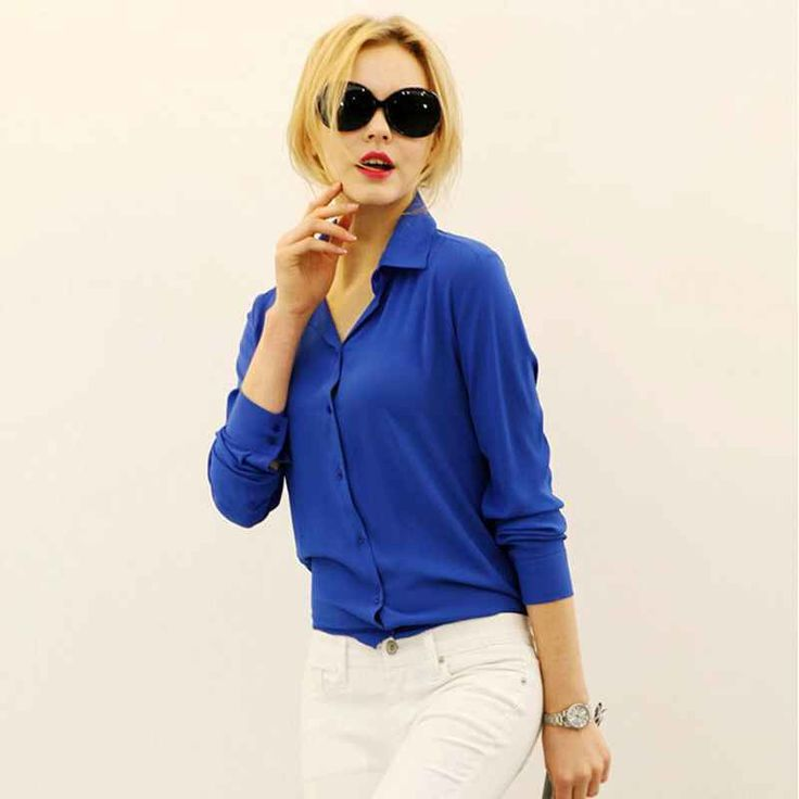 New Arrival Women Formal Blouse OL Work Solid Chiffon Lady Shirt Casual Turn-down Collar Full Sleeves Female Clothing Tops CB108