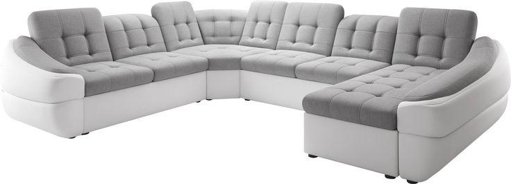 Canapé d'angle design en tissu et simili cuir avec méridienne angle droit coloris gris et blanc