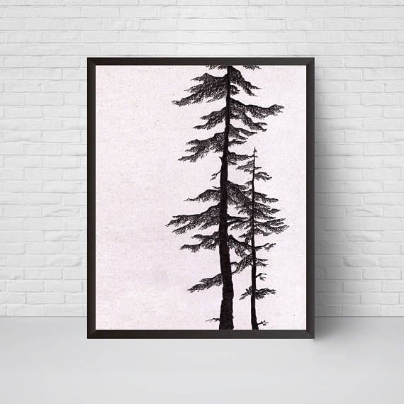 Pine Tree Art Print Wall Art Printable Minimalist Room Decor Modern Home Decor Black And White Wall Prints Tree Art Graphic Art Pine Tree Art Graphic Wall Art Tree Art