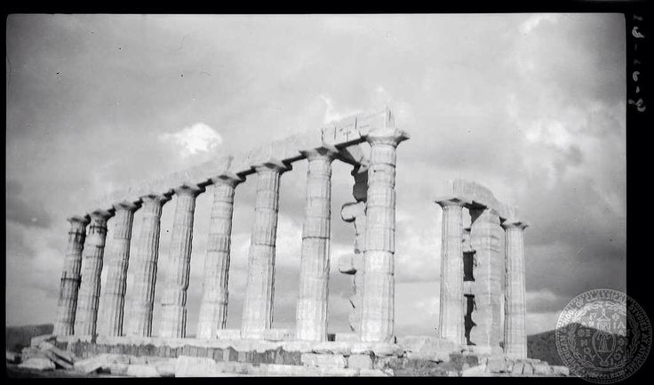 Sounion. Temple [of Poseidon] from southeast.  Dorothy Burr Thompson Attica Greece 1923
