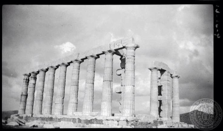 Sounion. Temple [of Poseidon] from southeast.  Dorothy Burr Thompson  Attica Greece 1923
