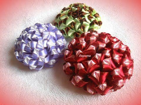 Цветы канзаши из узкой ленты 1,2 см, МК. - YouTube