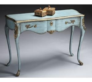 Great French Blue Console Table By Butler. This Accent Table Is Hand Painted With  Gold Highlights On The Edges. Antique Brass Finished Hardware On The One  Drawer.